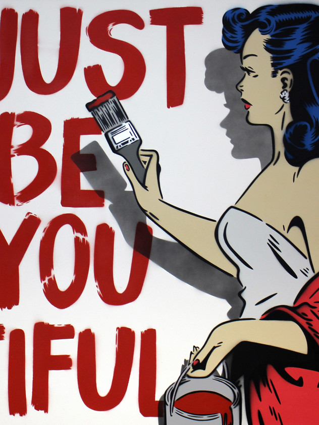 "30"" X 30"" JUST BE YOU TIFUL PIN UP RED"