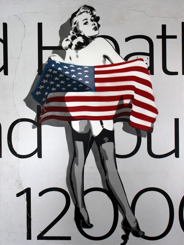 40英寸X 30英寸美國國旗白色