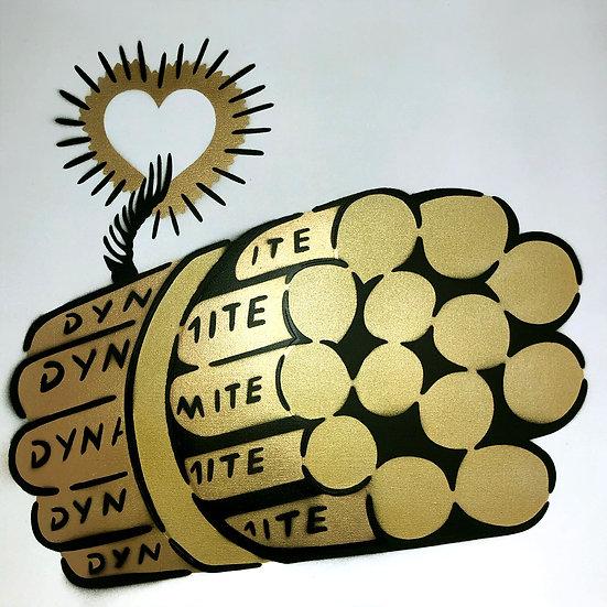 LOVE BOMB GOLD WHITE CANVAS 50 x 50 CM
