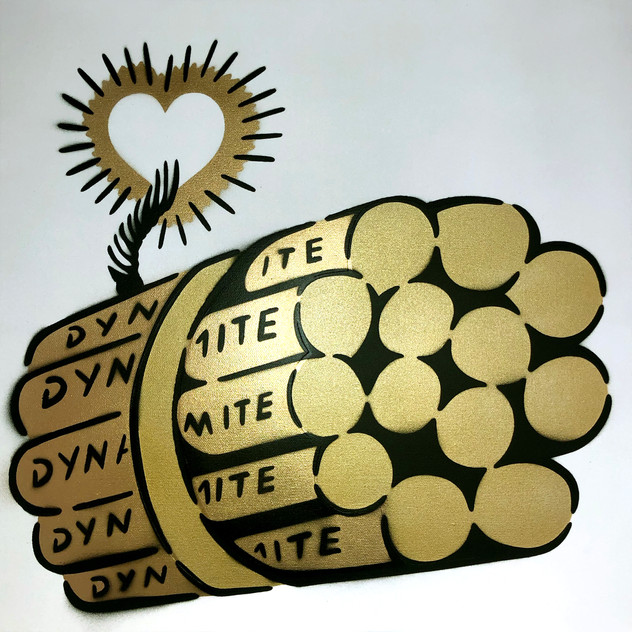 50 x 50 cm Dynamite Love Bomb Gold / White