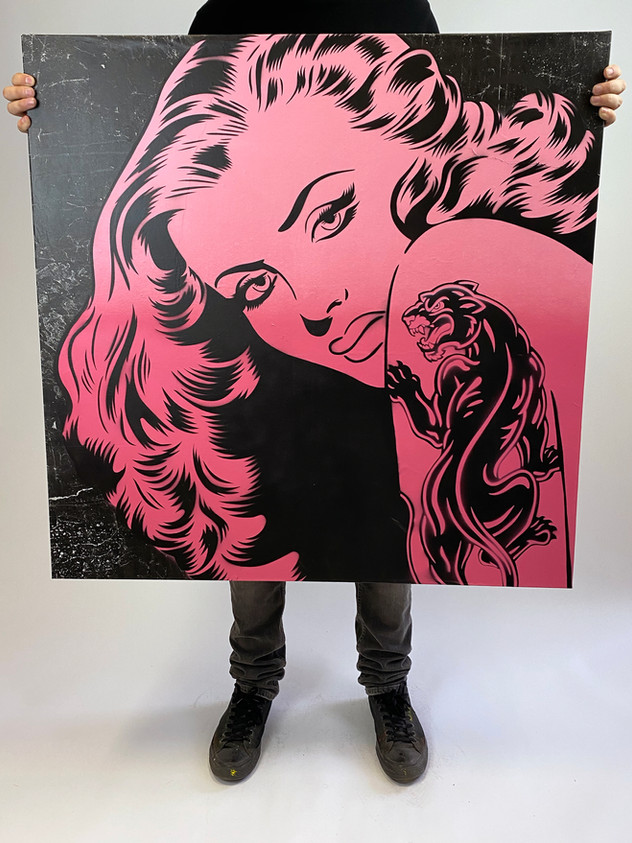 "36 ""X 36"" PANTHER TATTOO ROSA"