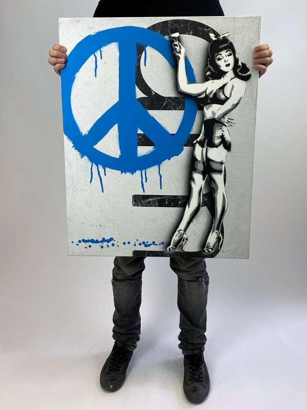 "30 ""X 24""PEACE PIN UP BLUE"