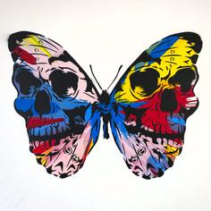 30 x 30 Zoll Spin Painting Skullerfly Multi