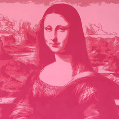40 x 30 düym Mona Lisa Pink