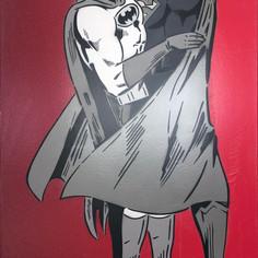 48 x 30 Zoll zwischen den Umhängen Monochrom / Rot