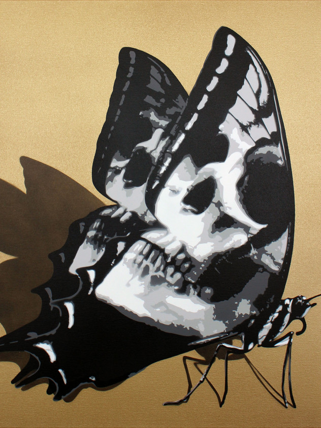 """30 """"X 30"""" SKULLERFLY OURO"""