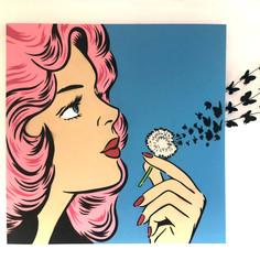 36 x 36 Zoll Sie blasen meinen Verstand Pink / Blau