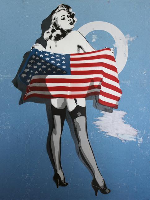 40 x 30 düym mavi Amerika bayrağı pin up.j