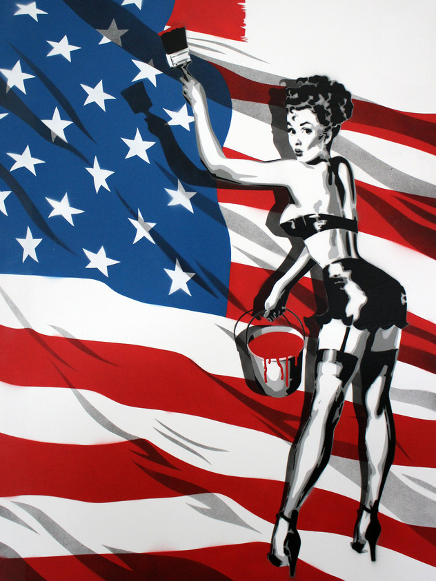 "40 ""X 30""PAINTING AMERICA PIN UP BUCKET"