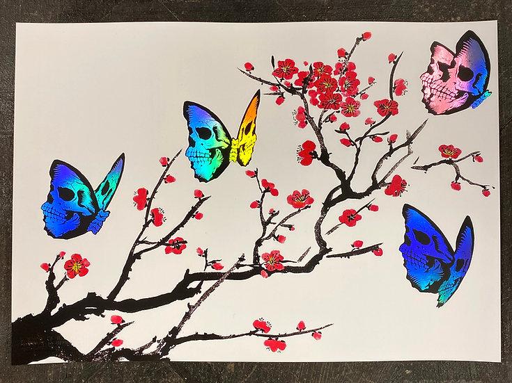 42 x 29.7 cm Skullerfly Cherry Blossom Holo Foil