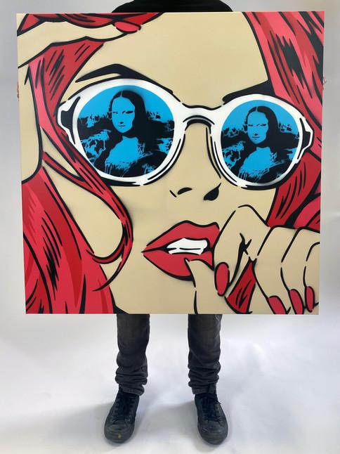 "36"" X 36"" MONA LISA REFLECTIONS RED"