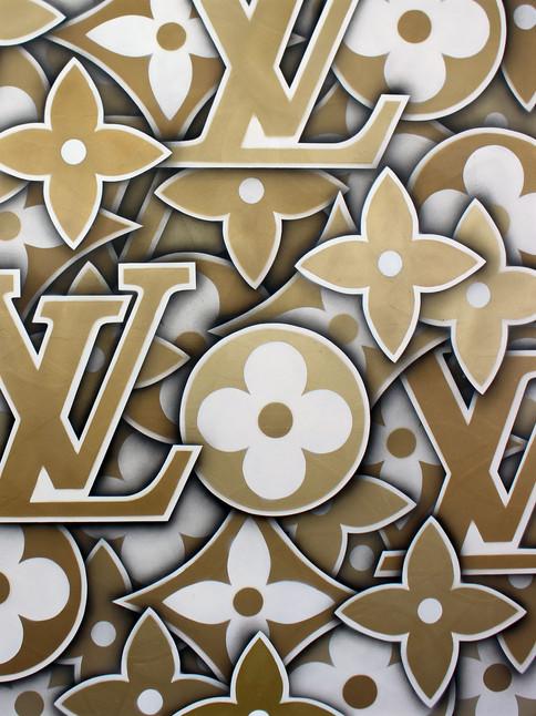 """48"""" X 48"""" LOUIS VUITTON PATTERN GOLD"""