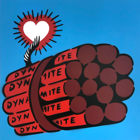 50 x 50 cm Dynamit Liebesbombe Rot / Blau