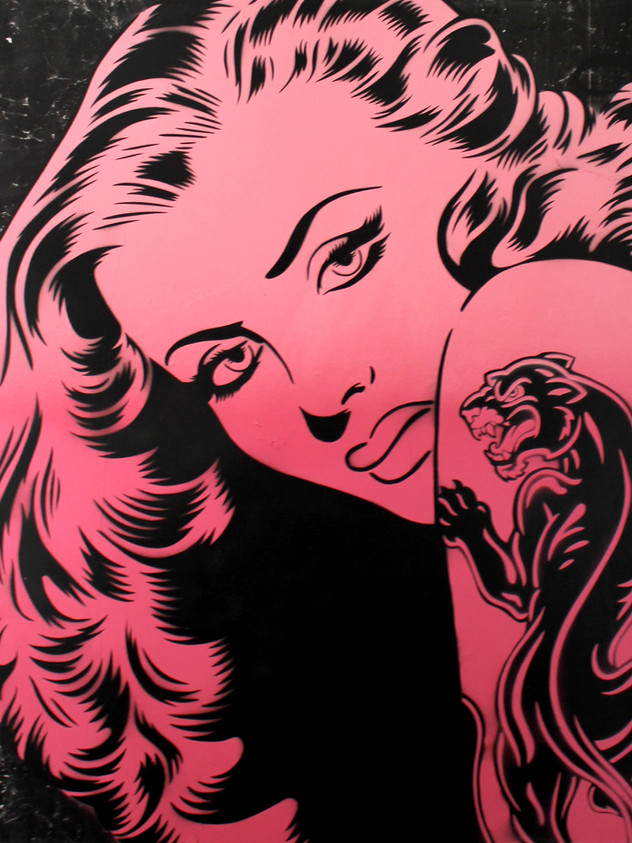"36 ""X 36""PANTHER TATTOO PINK BLACK BILLBOARD"