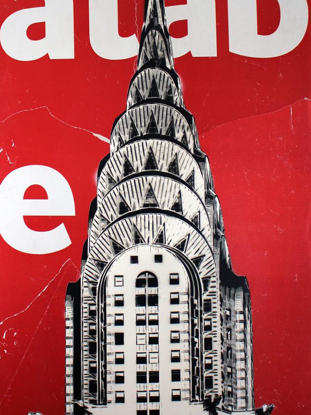 """48"""" X 30""""克萊斯勒大廈紅色廣告牌"""