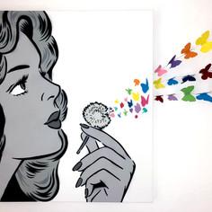36 x 36 Zoll Sie blasen meinen Verstand Monochrom / Regenbogen