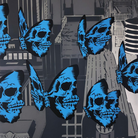 Tríptico Skullerfly City de 48 x 36 pulgadas