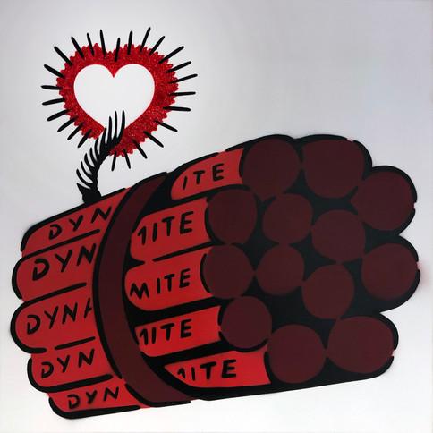 50 x 50 cm Dynamit Liebesbombe Rot / Glitter / Weiß