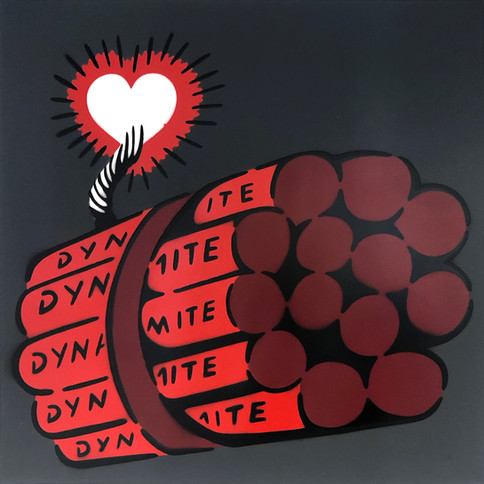 50 x 50 cm Dynamit Liebesbombe Rot / Kohle