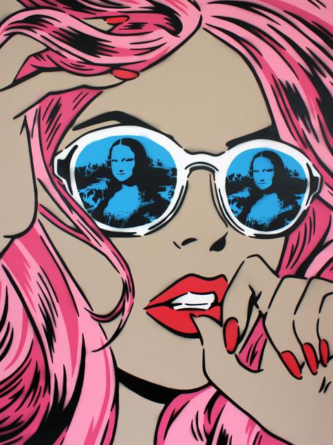 "48"" X 36"" MONA LISA REFLECTIONS PINK BLUE LENS"