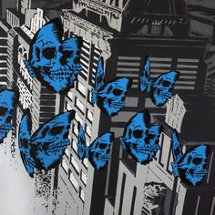 48 x 36 düymlük Skullerfly City Triptych