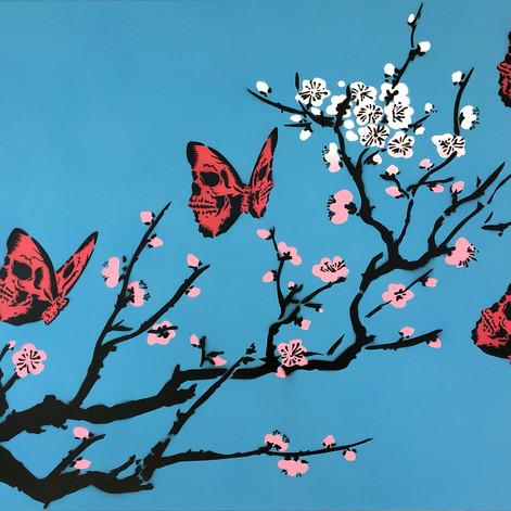 40 x 30 pulgadas Skullerfly Cherry Blossom Blue