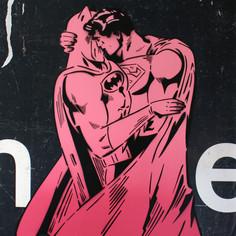 48 x 30 Zoll zwischen den Umhängen Pink Fade