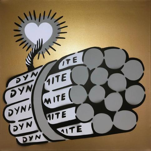 50 x 50 cm Dynamit Liebesbombe Grau / Gold