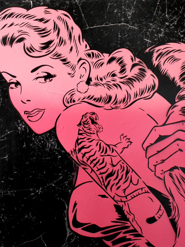 36英寸X 36英寸老虎臂紋身粉紅色黑色廣告牌
