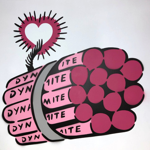 50 x 50 cm Dynamit Liebesbombe Pink / Weiß