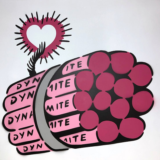 LOVE BOMB PINK WHITE CANVAS 50 x 50 CM