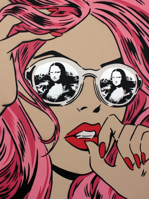 """48 """"X 36"""" MONA LISA REFLECTIONS LENTE CROMADA ROSA"""