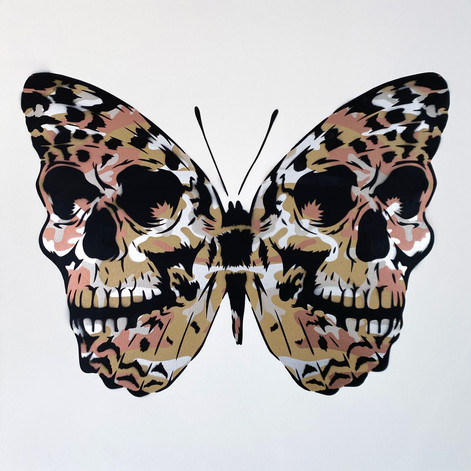 30 x 30 pulgadas Warhol Camo Skullerfly Metalics