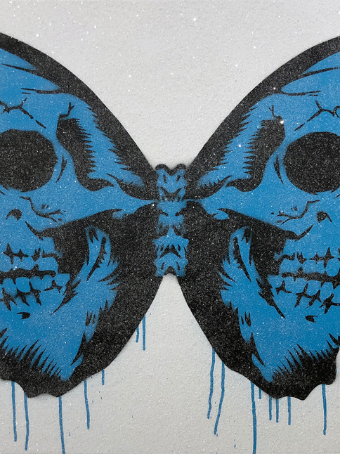 "30 ""X 24"" SKULLERFLY BLUE DIAMOND DUST"