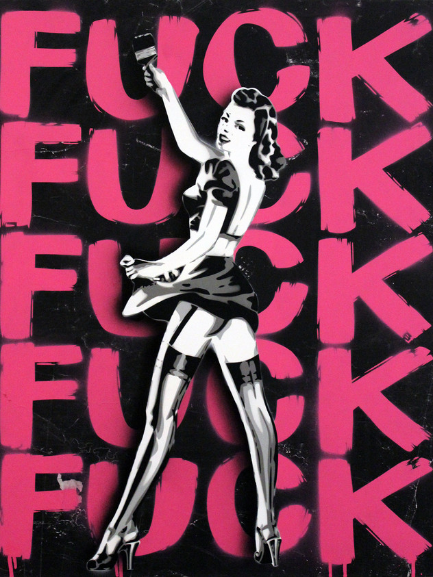 """30 """"X 24"""" PAINTING FUCK PINK"""