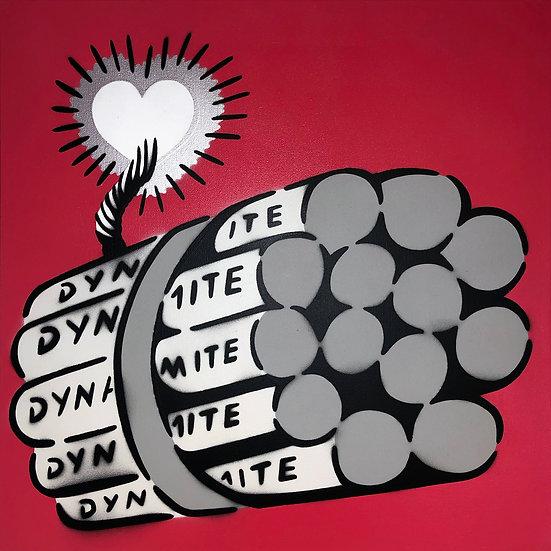 LOVE BOMB GREY LOLLIPOP CANVAS 50 x 50 CM