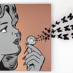 36 x 36 Zoll Sie blasen meinen Verstand Monochrom / Kupfer