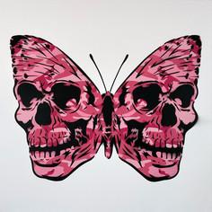 30 x 30 Zoll Warhol Camo Skullerfly Pink