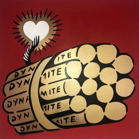 50 x 50 cm Dynamit Liebesbombe Gold / Rot