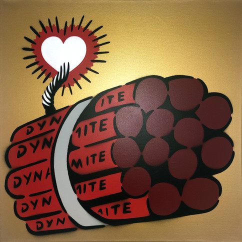 50 x 50 cm Dynamit Liebesbombe Rot / Gold