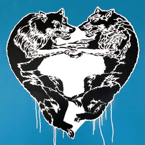 30 x 30 pulgadas Lobo Corazón Azul