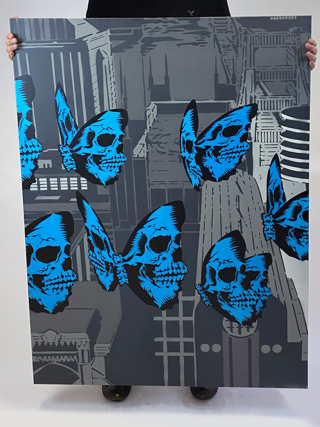 "48 ""X 36"" SKULLERFLY CITY MIDDLE"