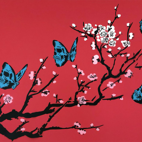 40 x 30 pulgadas Skullerfly Cherry Blossom Red