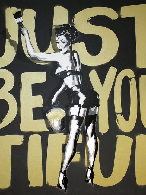 """40"""" X 40"""" JUST BE YOU TIFUL PIN UP GIRL GOLD"""