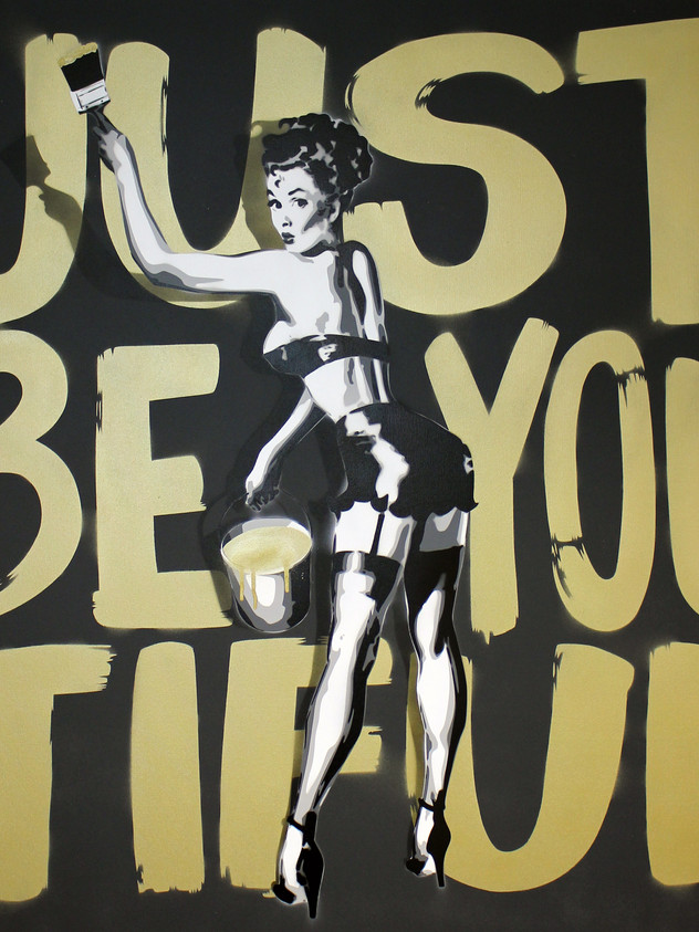 "40"" X 40"" JUST BE YOU TIFUL PIN UP GIRL GOLD"