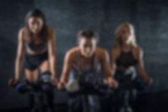 Group of three attractive sporty girls w