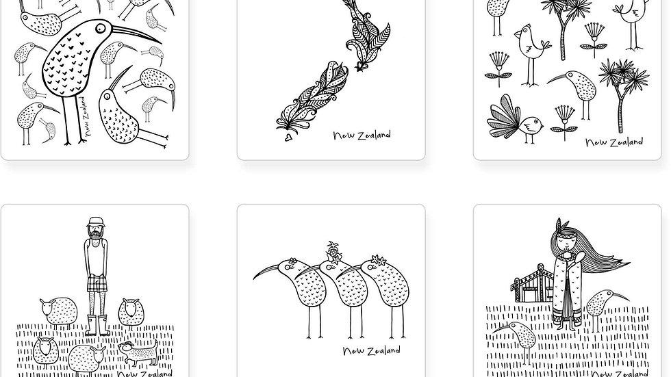 New Zealand Coasters V2  - Set of 6