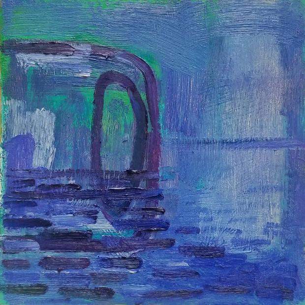 Untitled oil on Mylar, 12x12