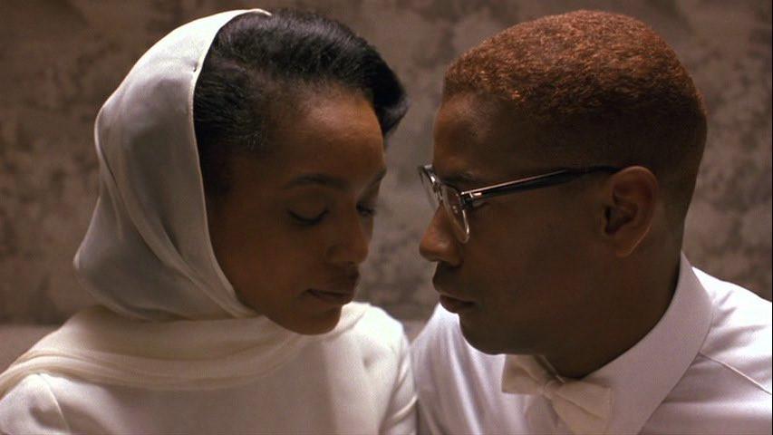 Angela Bassett and Denzel Washington in Malcolm X (1992)