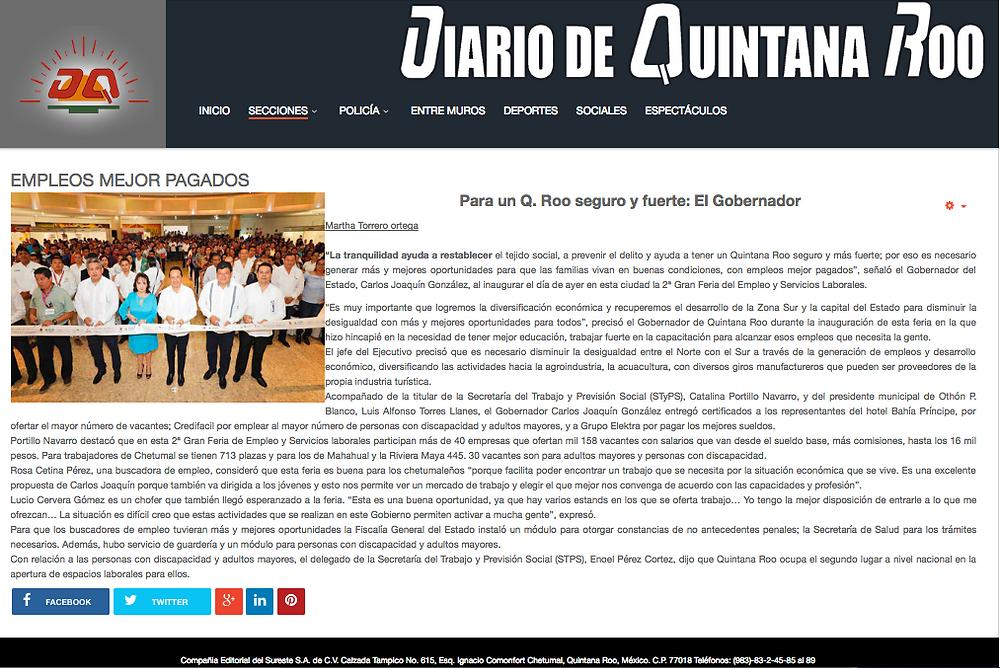 Nota Diario de Quintana Roo